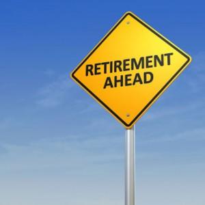 Retirement caution street sign